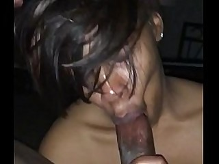 Cheating slut gives blowjob while bf sleeps in the backroom