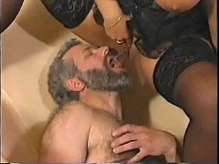 very hot german busty in black lingerie