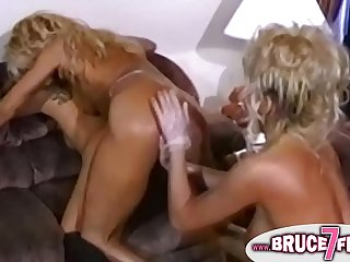 Three blondes with humongous tits who are fingering each other
