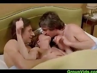Cute Blonde Chick In A Classic Threesome